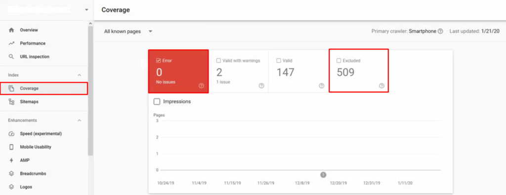 Monitoring a website in Google Search Console.