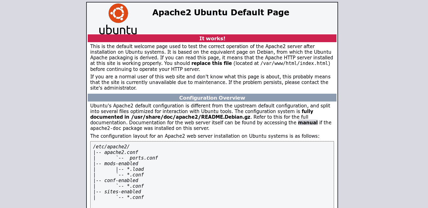 Apache default screen on a browser