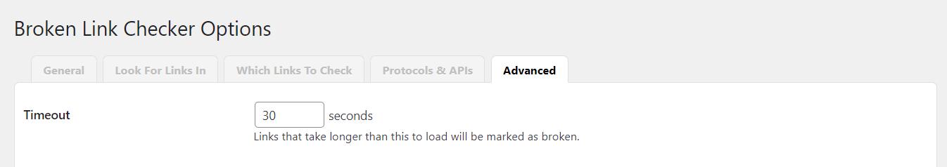 Advanced tab in Broken Link Checker.