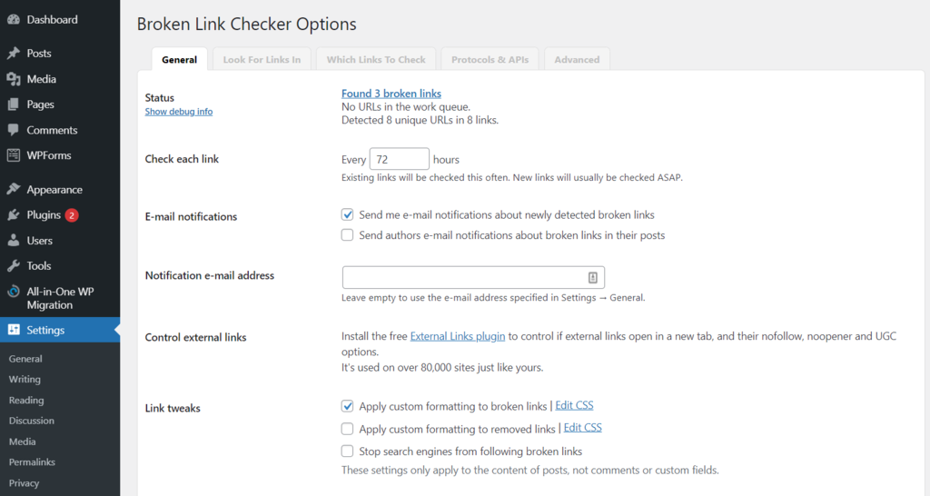 Broken Link Checker Options page.