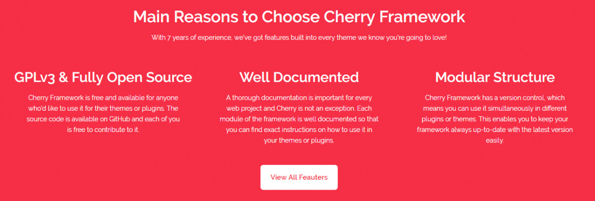 The features of Cherry Framework