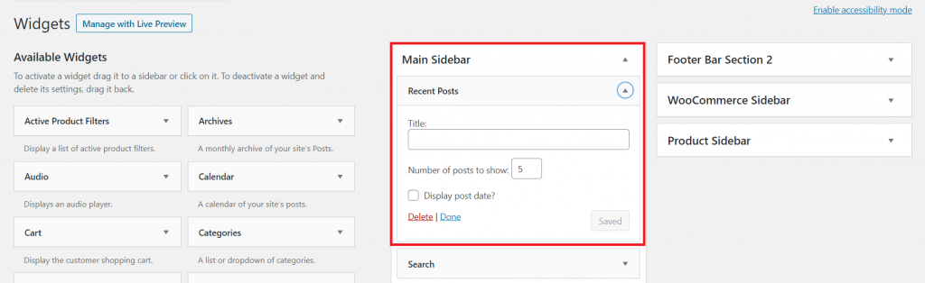 Customizing main sidebar widget on WordPress