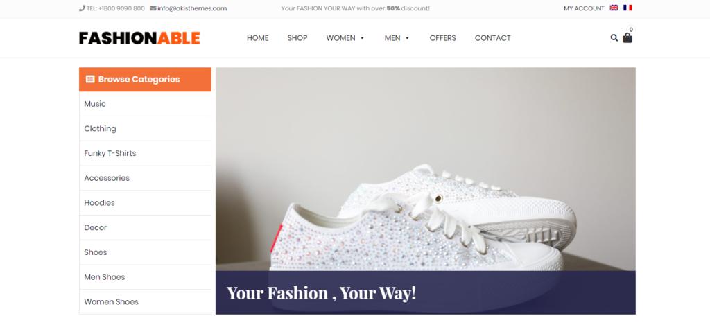 Fashionable Store wordpress theme