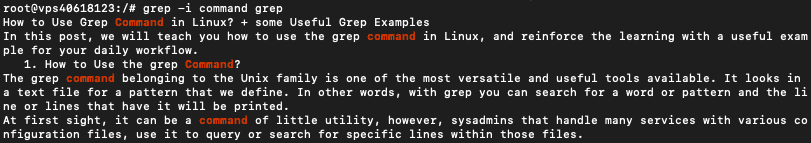 The search output of the grep command performed in a linux terminal