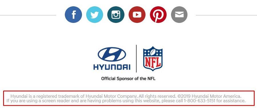 hyundai copyright footer