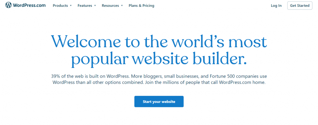 Screenshot showing one of WordPress main pages