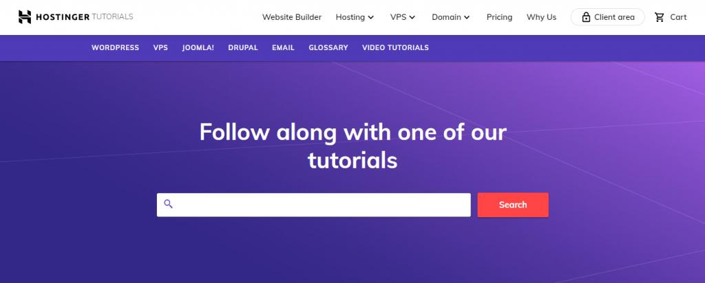 screenshot showing Hostinger tutorials page