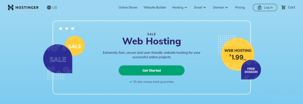 Screenshot showing Hostinger's web hosting page