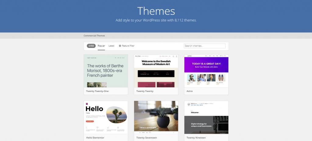 Screenshot showing wordpress themes