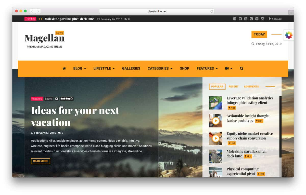 Magellan wordpress video theme