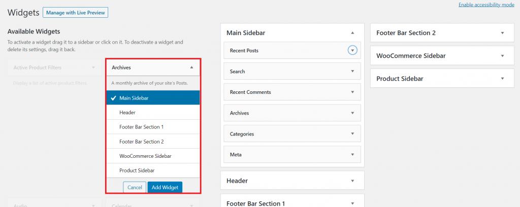 Adding a widget to the main sidebar on WordPress