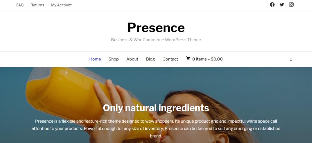Presence woocommerce wordpress themes
