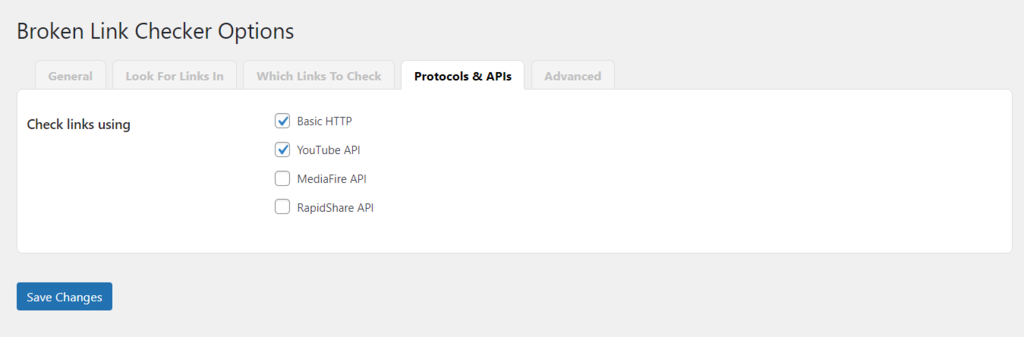 Protocols & APIs in Broken Link Checker.