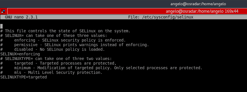 Selinux configuration file opened on nano in centos 7