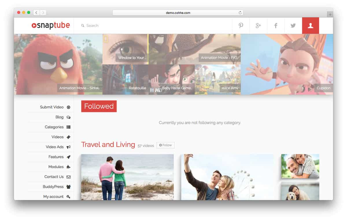 snaptube wordpress video theme