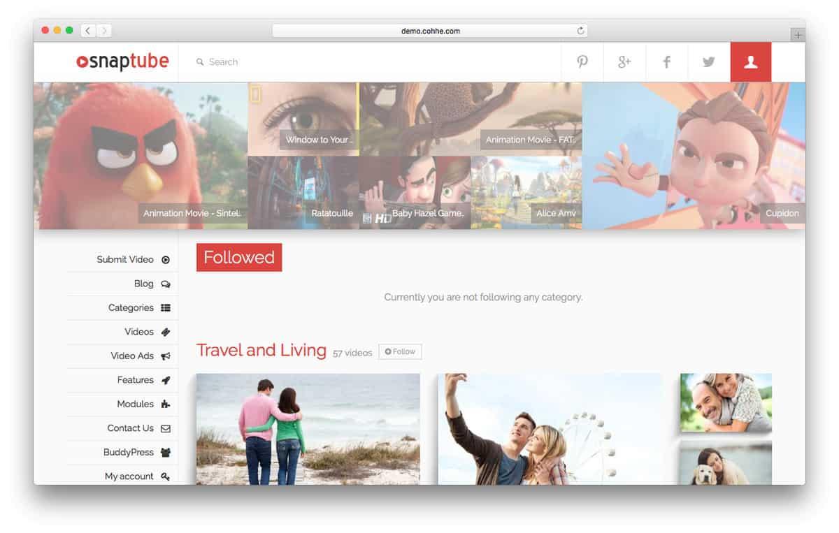 Snaptube WordPress Video Theme