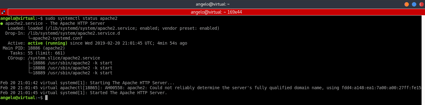 Apache server status command output on Ubuntu