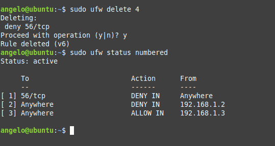 UFW rule list displayed in the terminal on Ubuntu