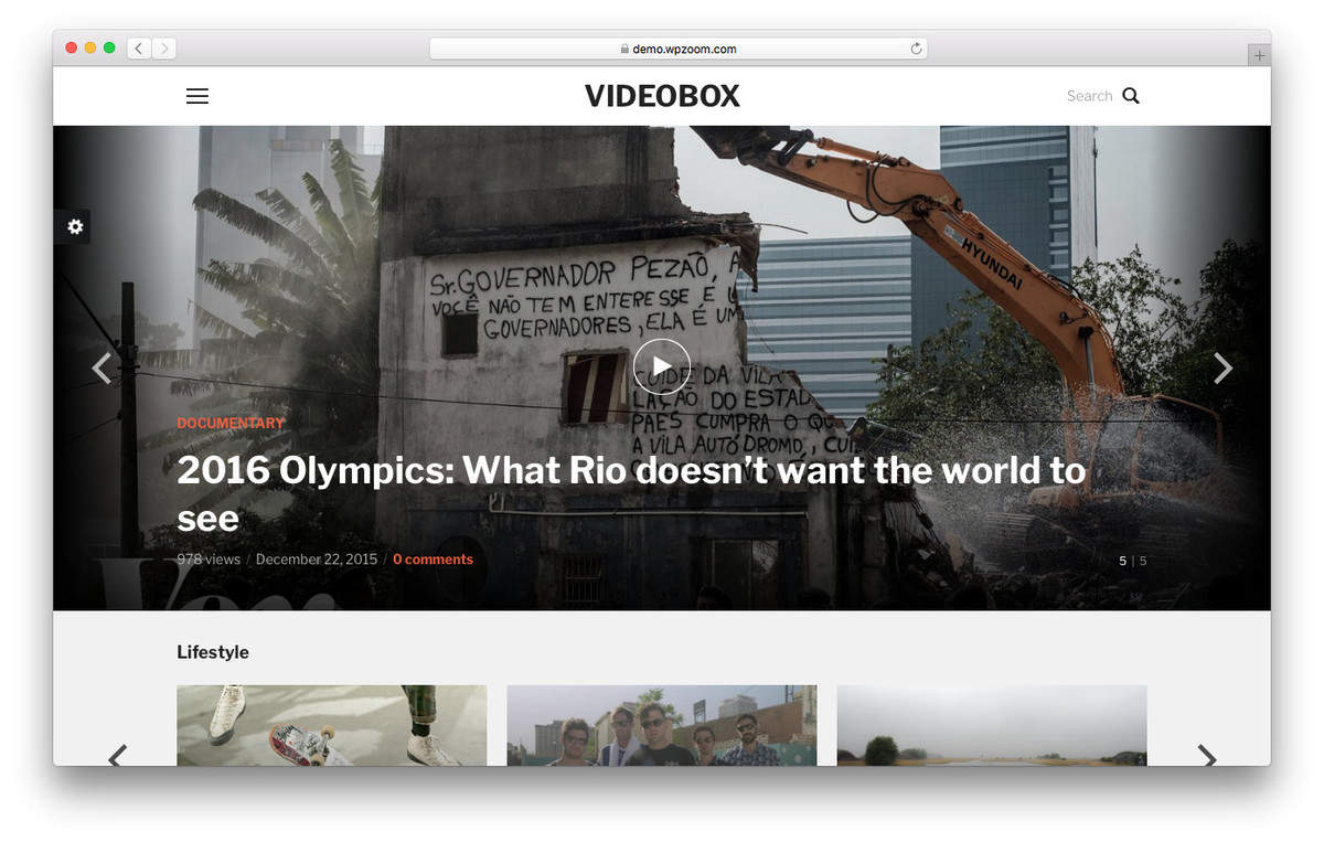 videobox wordpress video theme