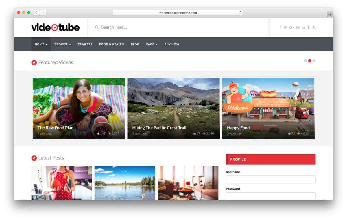 videotube wordpress video theme
