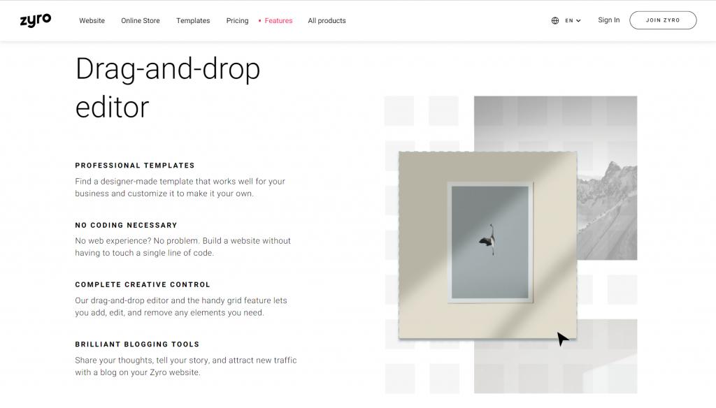 Screenshot showing Zyro drag and drop builder