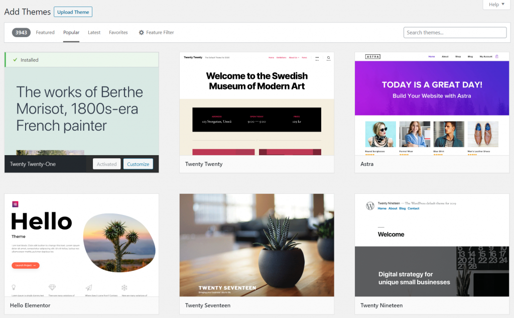 Screenshot showing Premium WordPress Themes