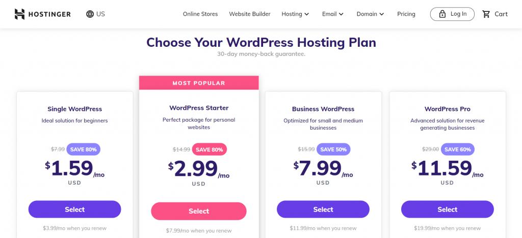 Screenshot showing Hostinger web hosting pricing