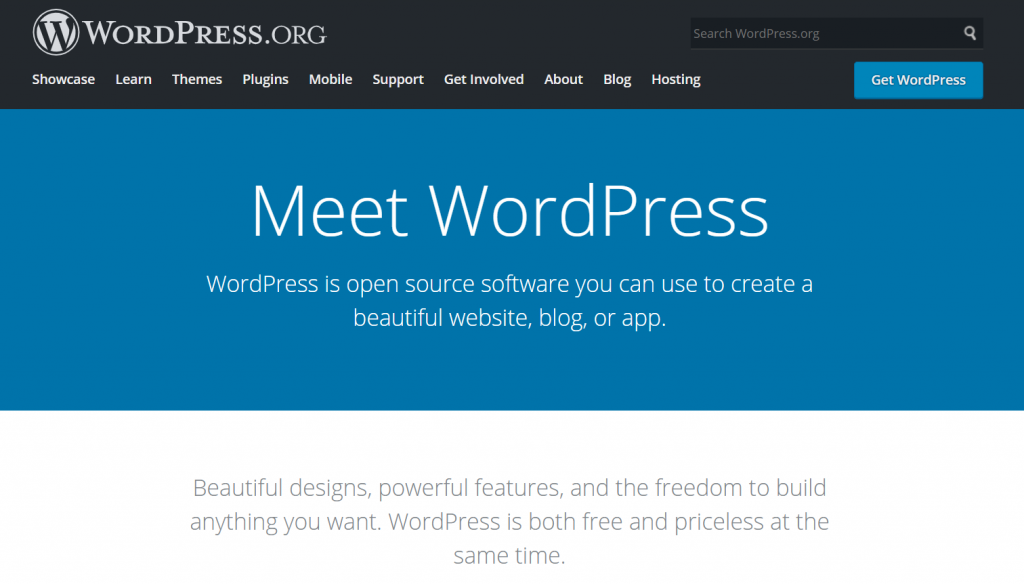 Screenshot showing WordPress homepage