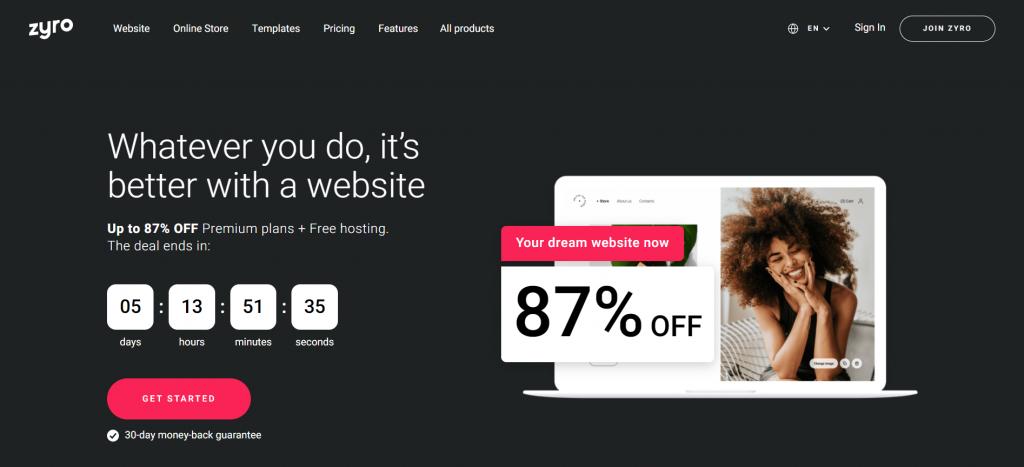 Screenshot showing Zyro home page