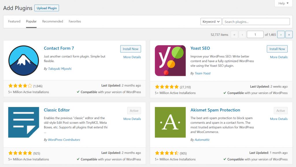 Screenshot showing WordPress plugins