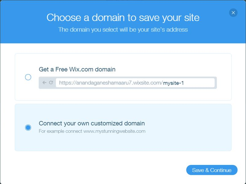 Choosing a domain for Wix site