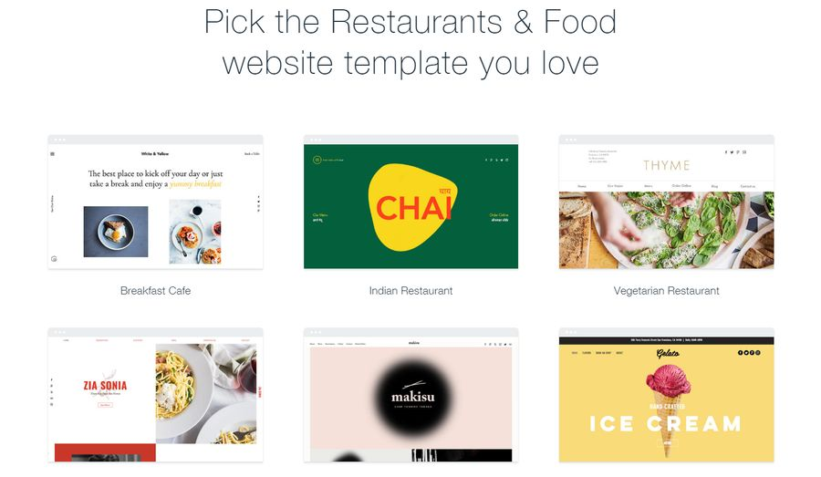 Wix template choice