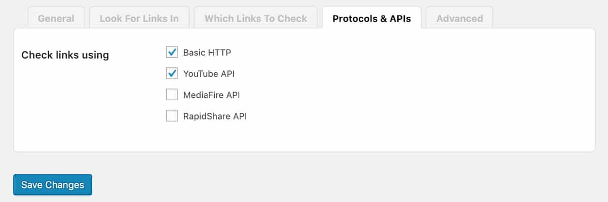 Protocols and Apis Tab