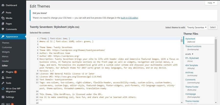 wordpress theme editor interface