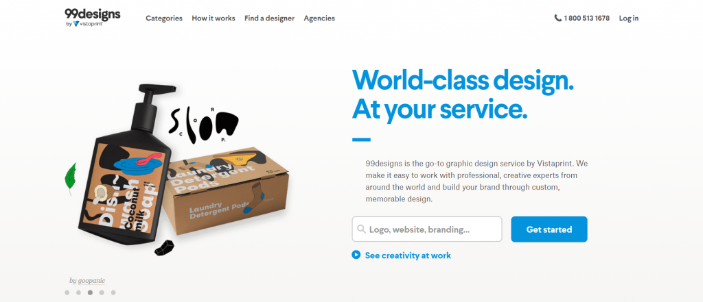 99 design freelance home page