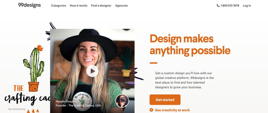 thiết kế đồ họa 99designs trang chủ