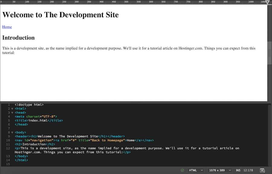 Adding the website description text