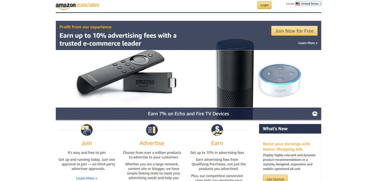 Amazon Associates affiliate program sign up page