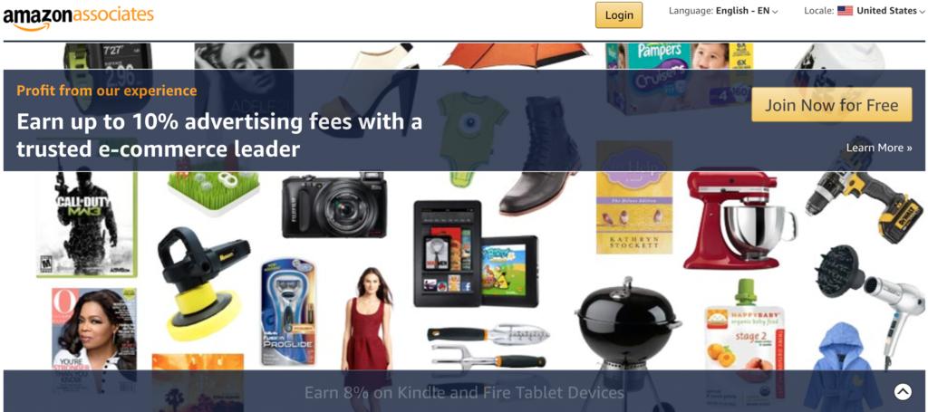 Amazon Associates affiliate program sign up page