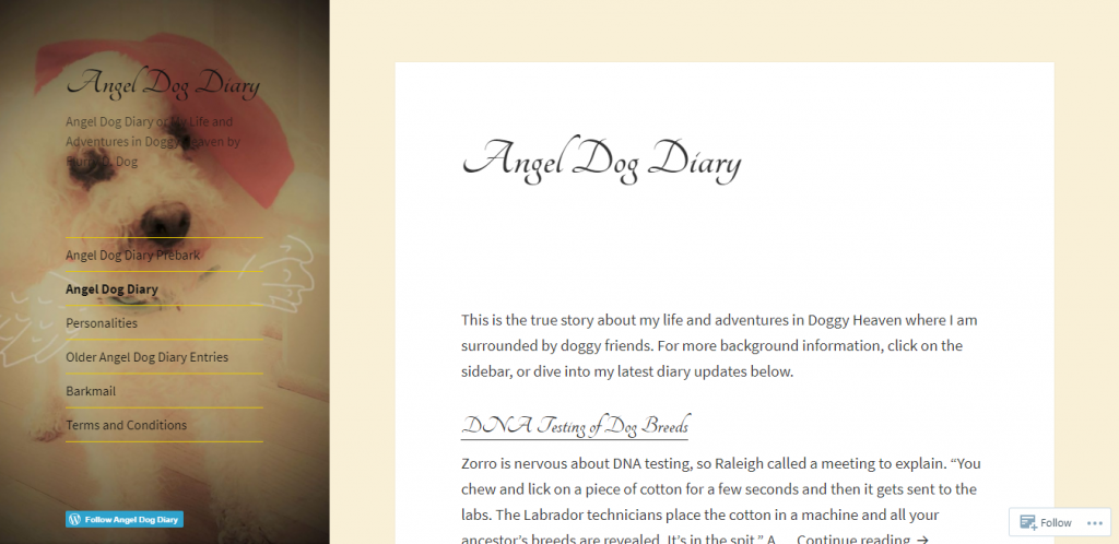 Angel Dog Diary is a blog focused on dog owners