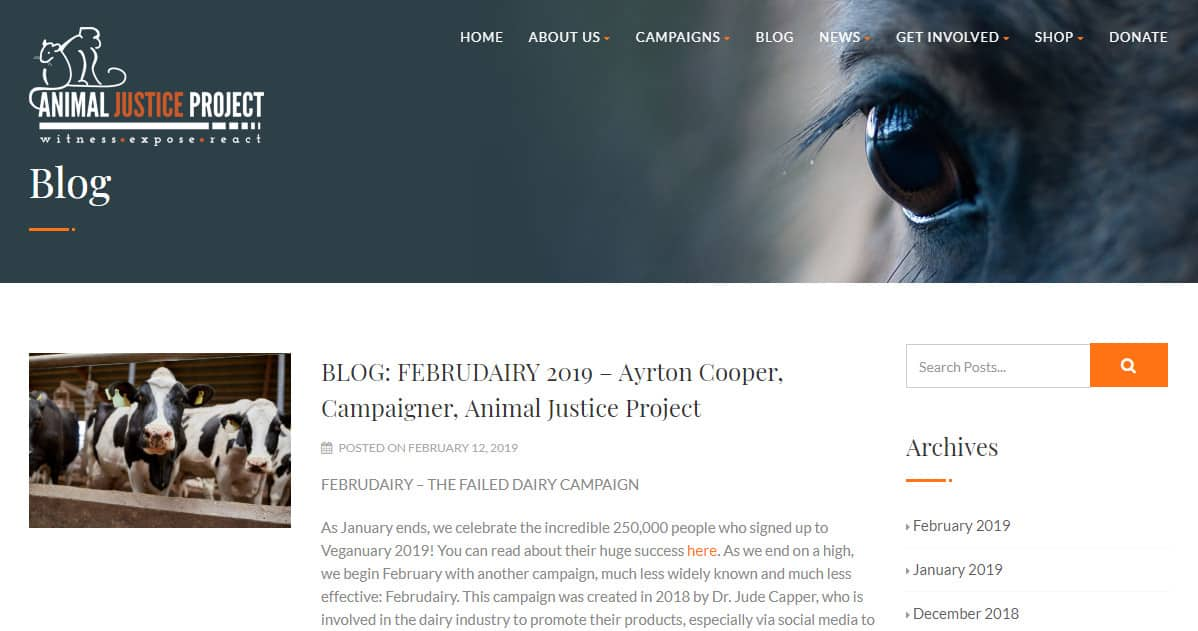 Animal Justice Project Animal Blog Homepage