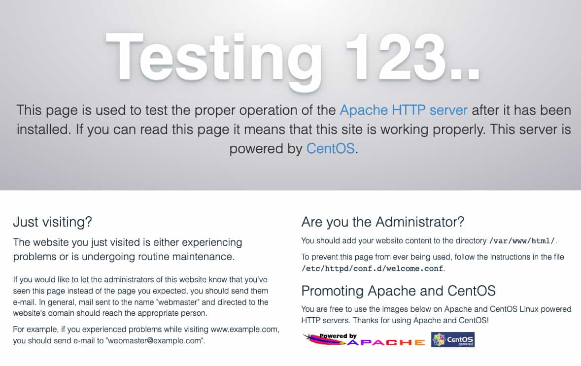Apache testing splash screen