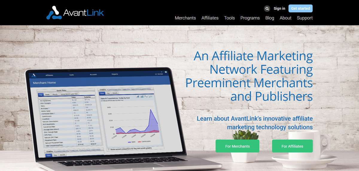 AvantLink affiliate marketing program's sign up page
