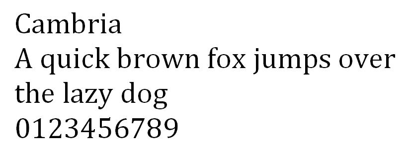 Cambria font design