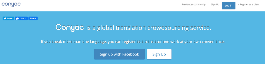conyac translator signup page