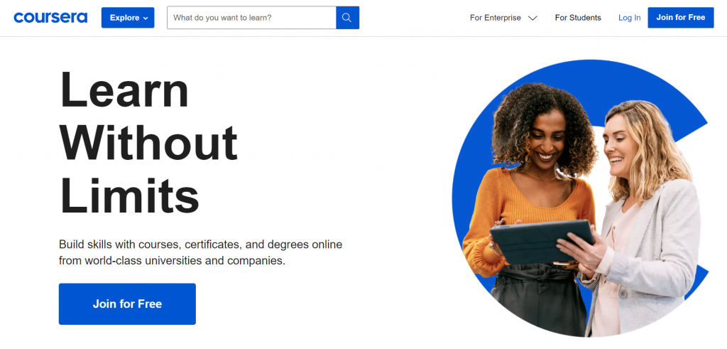 Coursera homepage featuring a join for free CTA and learning without limits