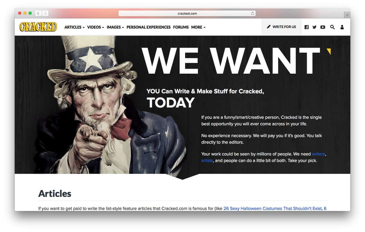 Cracked.com Offers Opportunity for Freelance Writers