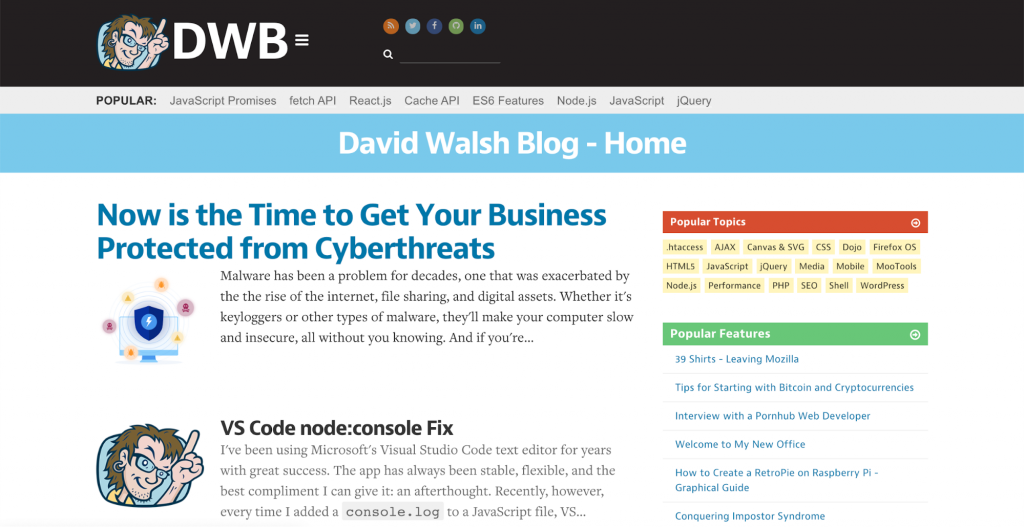 David Walsh Blog featuring article about importance of cybersecurity