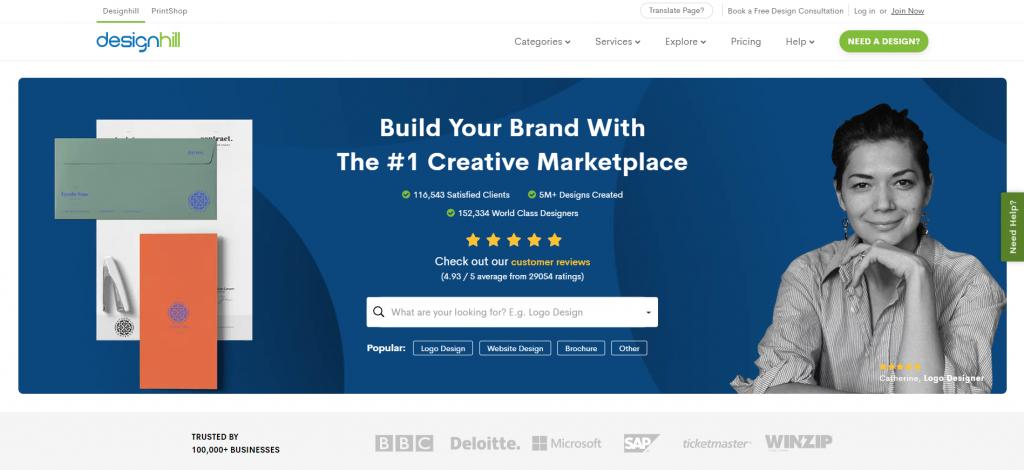 Design Hill homepage