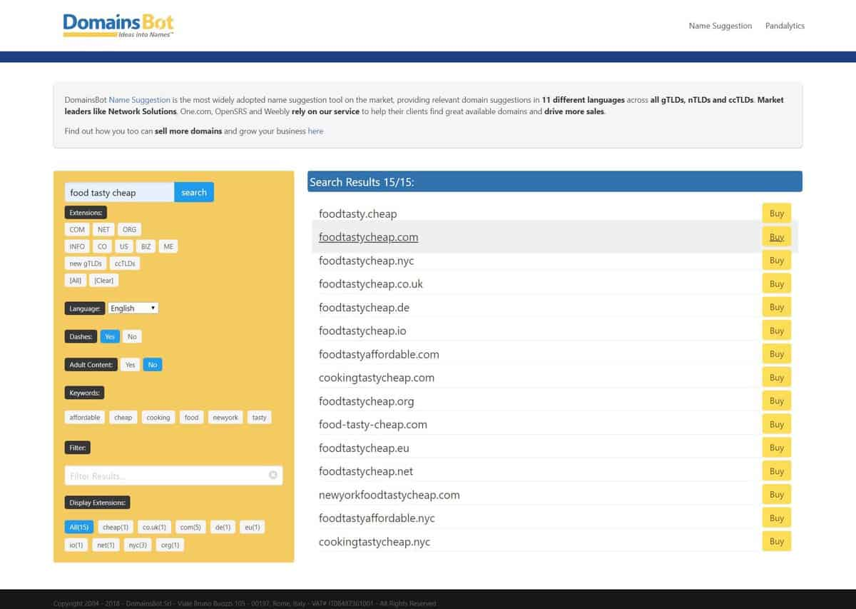 Domains Bot as one of the best domain name generators.